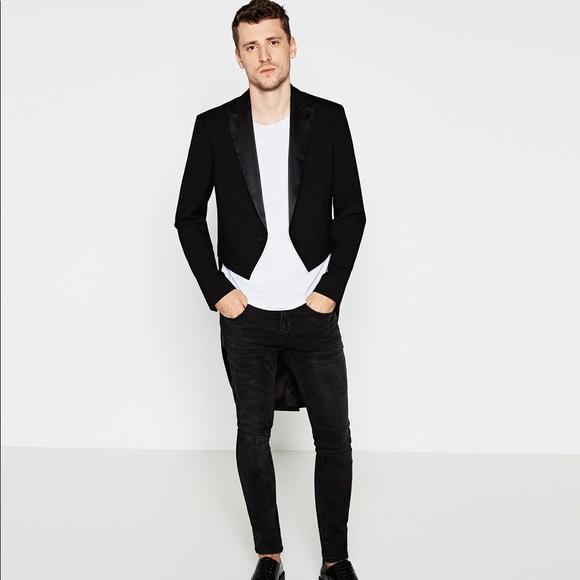 f851b4a8 Zara Jackets & Coats | Man Tuxedo Tailcoat Jacket With Sateen Lapel ...